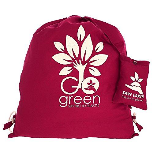 Multiuso Save the Earth coulisse Top zaino Vino - amichevole riutilizzabile di Eco Borsa in cotone Shopping