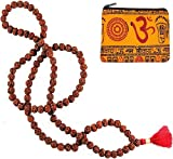 RUDRAKSHA 108 MALA w/ Om Zippered Mala Pouch ~ Premium Quality ~ 10mm Meditation Prayer Beads