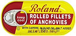 Roland Foods Anchovy Fillets, Rolled with Capers, 2 Ounce (Pack of 25)