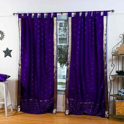 Pair Drape Yellow  Tab Top  Sheer Sari Curtain Panel