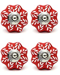 Knobs & Hooks Ceramic Cabinet Knob; Red+White; Set of four pieces