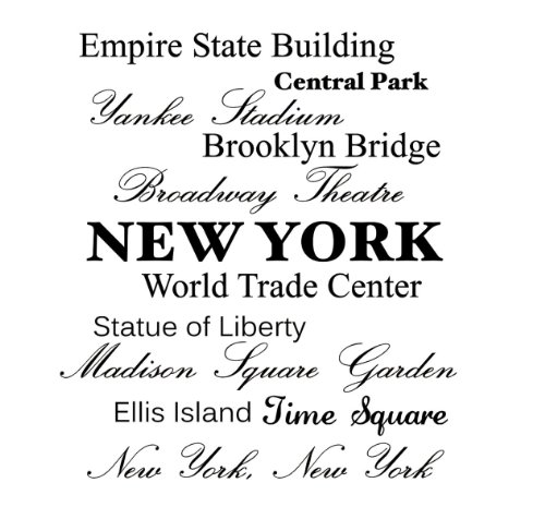 Empire State Building, Central Park, Yankee Stadium, Brooklyn Bridge, Broadway Theatre, New York, World Trade Center, Statue Of Liberty, Madison Square Garden, Ellis Island, Time Square, New York New York Vinyl Wall Art Inspirational Quotes And Saying Hom front-1016507