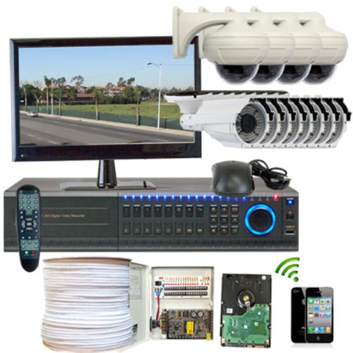 Gw Security Inc 12Chh2 High Definition Hd-Sdi 16 Channel Dvr With 4 X 2.1 Megapixel Hd-Sdi Camera And 8X 700Tvl Security Camera System (White/Black)