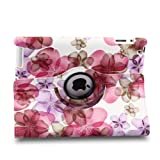 TOPCHANCES Auto Sleep/Wake Function 360 Degree Rotating Smart Case Cover for 9.7 inch Apple iPad 2/3/4 with a Stylus as a Gift--Lucky Flower Pattern,Pink