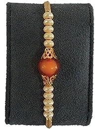 BOGATCHI Orange And White Pearl Designer Rakhi With FREE Roli Chawal, Rakhi For Brother, Rakhi Gift For Brother...