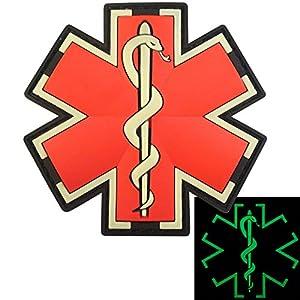 Glow Dark EMS EMT Medic Paramédical Paramedic Star of Life Morale Tactical PVC 3D Velcro Écusson Patch