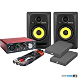 KRK Rokit RP5 G3 Active Studio Monitors, Focusrite Scarlett Solo Audio Interface Includes Isolation Pads and Leads