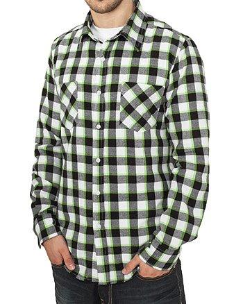 "Urban Classics Herren ""Tricolor Checked Light Flanell Shirt"", Größe: L, Farbe: black-white-limegreen"
