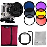 XCSOURCE® Adaptateur 58mm + 6 filtres (rouge + jaune + violet + UV + CPL + ND4) pour Gopro Hero 3 LF365
