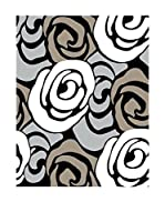 Contemporary Kitchen Alfombra Rose Grey And Cream Gris/Crema