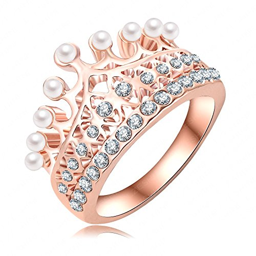 K-Design Princess Crown Ring 18K Rose Gold Plate Made With Austrian Crystal & Pearl Ball Luxury Elgent Women Ring Wholesale Ri-Hq0375-A 8.0