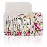 Professional 12 Pcs Makeup Cosmetics Brushes Set Kits With Rose Pattern Case (Pink Handle)