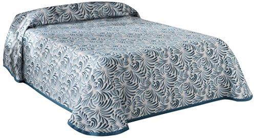 Bettüberwurf, Polyester, 200 x 90, 5 Prozent aus Acrylfaser 5 Prozent Baumwolle Plumas 03 Tagesdecke, Blau