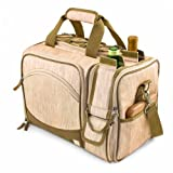 Picnic Time Malibu Insulated Shoulder Pack with Deluxe Picnic Service for 2, Botanica