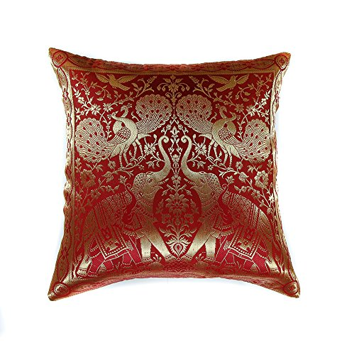 Narphosit India Style Elephant Peacock Throw Pillow Cover Decorative Sofa Couch Cushion Cover Zippered 16x16 Inch (40x40 Cm) Red (Indian Purple Corn compare prices)