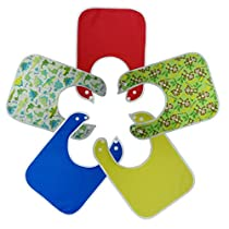 Large Waterproof Baby Bibs with Snap Buttons for Boys & Girls - 5 Pack Solid Colors and Pictures