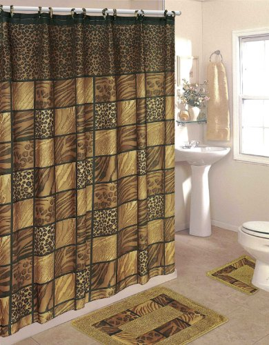 bathroom sets leopard 15 piece bathroom set 2 rugs mats 1 fabric shower curtain 12 fabric. Black Bedroom Furniture Sets. Home Design Ideas