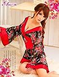 コスプレ 衣装 着物 浴衣 キャンギャル セクシー コスチューム 通販 ゴージャス シースルー z643 黒 赤 花