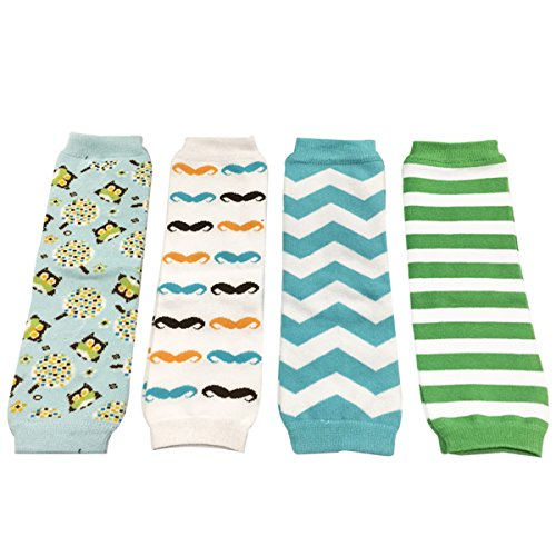 Allydrew 4 Pack Leg Warmers In Various Styles For Babies And Toddlers, Blue Owl, Mustache, Chevron, Green