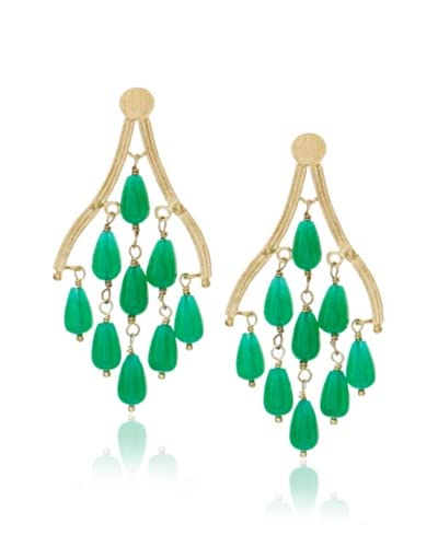 Rivka Friedman Teardrop Green Quartzite Chandelier Earrings