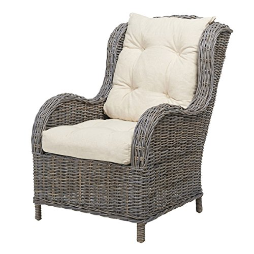 rattansessel jack korbsessel inkl polsterauflagen grau. Black Bedroom Furniture Sets. Home Design Ideas