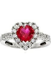 10k White Gold Heart-Shaped Created Ruby and Round Created White Sapphire Heart Ring
