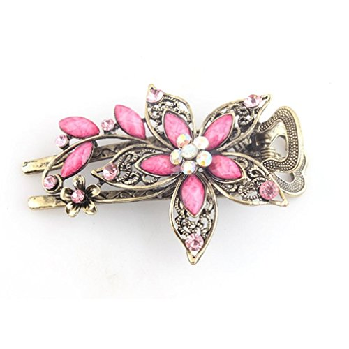 GBSELL Vintage Flower Jewelry Crystal Hair Clips Hairpins Accessories For Weddings Christmas (Pink)