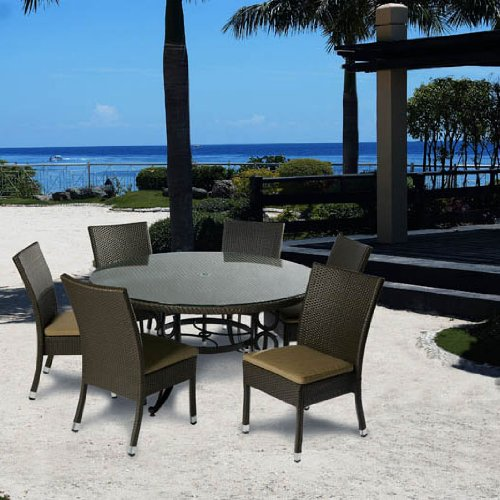 Alfresco Home Vento 60 Inch Round Dining Table With Umbrella Hole & Glass Top
