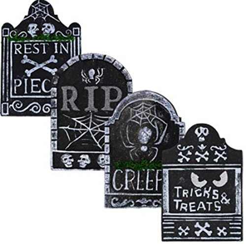 Lot of 4 Wonderful Popular Tombstone Halloween Horror Party Yard Creepy Haunted Cemetary Props Color Gray with (Lighting Mcqueen Costume)