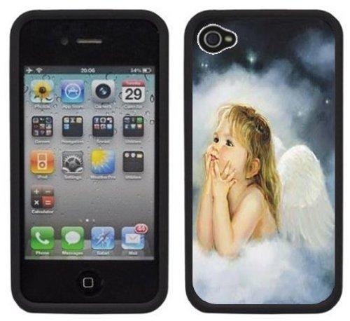 Angel Baby Girl Handmade Iphone 4 4S Black Hard Plastic Case front-180338