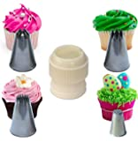 Cupcake Stars & Swirls Nozzle Set Extra Large, with Coupler plus Strands Tip for Icing, Cake Decoration & Sugarcraft