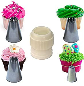 Cake Decorating Nozzles And Their Uses : Cupcake Stars & Swirls Nozzle Set Extra Large, with ...