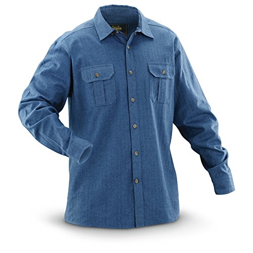 Guide Gear Herringbone Long-Sleeve Flannel Shirt, Navy, M