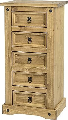 Corona - Cassettiera stretta in legno di pino cerato, 5 cassetti