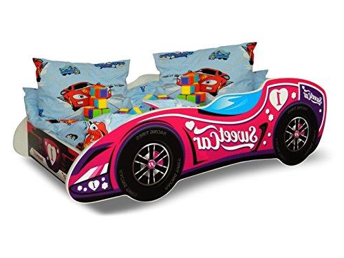 Lit voiture F1 rose+sommier+matelas 140x70cm