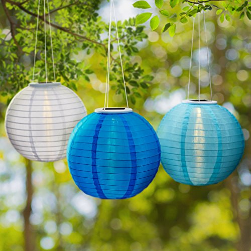 Set of 3 LED Coastal Blues Lanterns