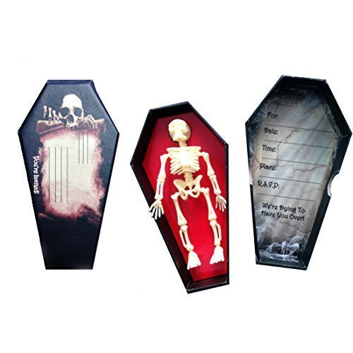 Set of 6 Creepy Coffin Invitations with Skeletons