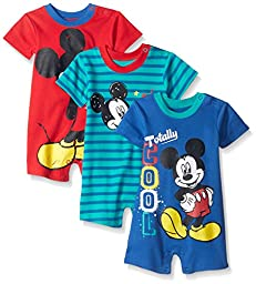 Disney Baby 3 Pack Rompers, Mickey Blue, 24 Months