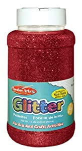 Creative Arts by Charles Leonard Glitter, 16 Ounce Bottle, Red, 1 Each  (41130)