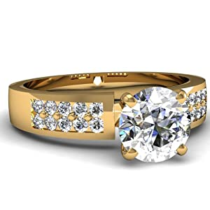 Fascinating Diamonds 0.90 Ct Round Cut SI1-F Diamond Double Row Pave Set Engagement Ring 14K GIA