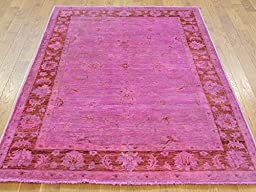 4 x 6 HAND KNOTTED OVERDYED PINK PESHAWAR ORIENTAL RUG G22880