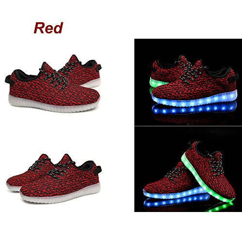 USB Charging LED Light Sport Shoes Flashing Sneakers Men Women Couple, Fashion Breathable Shoes, Flat,Shoe Plus Size 35-46. (8.5 D (M) US, Red)