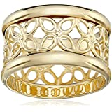 14k Gold Flashed Sterling Silver Flower Band Ring