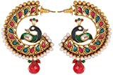 Violet and Purple Alloy Gold Plated Dangle and Drop Earrings for Women (1000025894)
