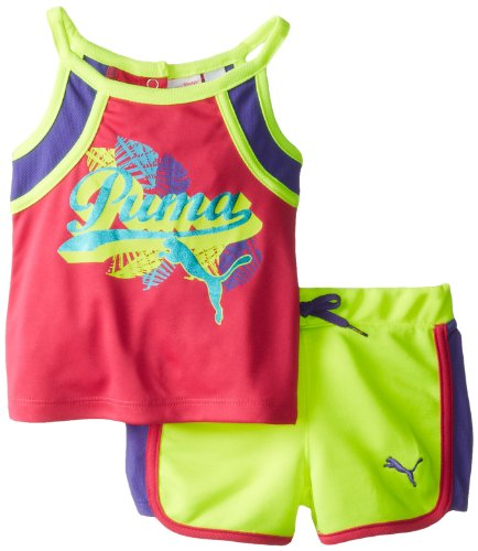 Puma - Kids Baby Girls Infant Tropical Puma Short Set, Saftey Yellow, 12 Months front-1003049
