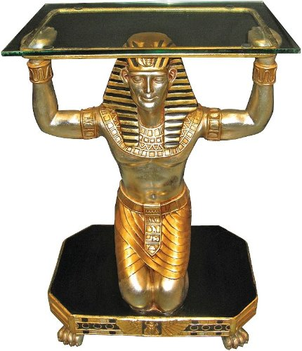 Cheap 30″ King Tut Servant Sculpture Statue Glass-Topped Console Table (NE86725)