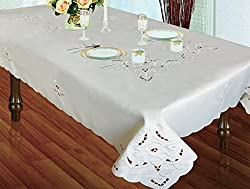 Ruthy's Textile Pearl Embroidered Tablecloth Assorted Sizes & Colors (White, 70 in X 108 in)
