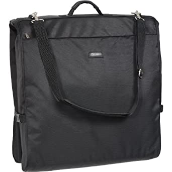 WallyBags 45 Inch Framed Garment Bag with Shoulder Strap, Black, One Size