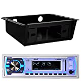 Pyle PLMRB29W Bluetooth MP3 USB AUX SD Card In-Dash Stereo AM/FM Radio Single Din White Headunit Receiver Player Bundle Combo With Metra 99-9000 Universal Underdash Stereo Housing
