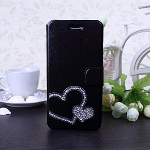 Wkae® iPhone 5SE 5S Custodia; Copertura della cassa del raccoglitore del cuoio del Rhinestone del diamante di 3D DIY Bling del trifoglio del foglio di disegno PU by Diebell(Black-Heart)